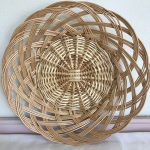 Tan Wicker Basket Bowl